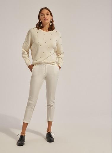 Monamoda Cepli Bilekte Klasik Pantolon Beyaz
